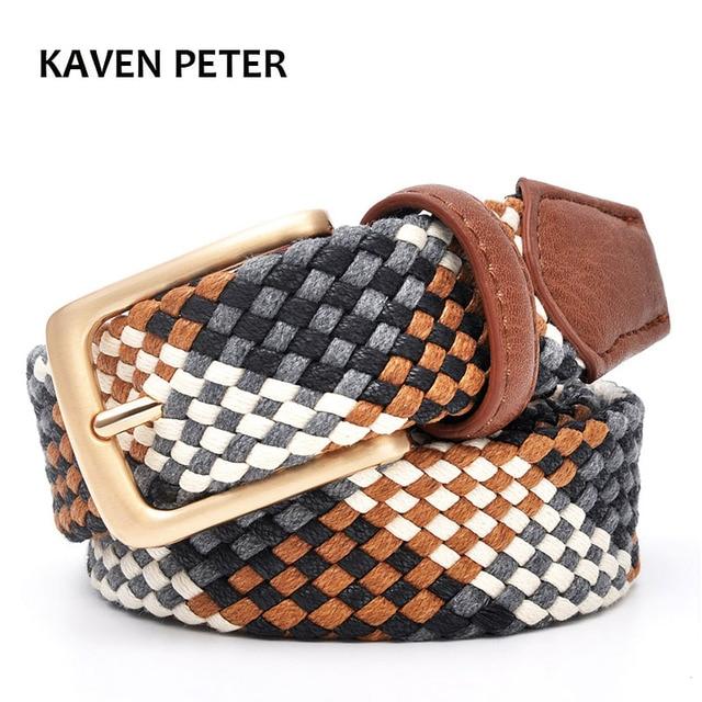Cinturón trenzado para mujer con hebilla de oro 3,0 cm de ancho sin agujeros de algodón tubo tejido cinturones fuertes cinturones de punto para amantes