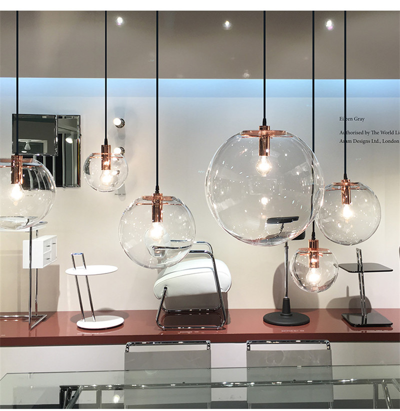 Industrial Glass Ball Pendant Lights Nordic Suspension Luminaire Led Home Decor Hanging Lamp Lights for Kitchen Light Fixtures