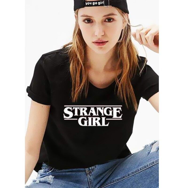 EnjoytheSpirit Women T Shirt Strange Girl T-shirt Inspire Stranger Things Cool Casual Loose Fit Crewneck Soft Cotton Vintage Tee