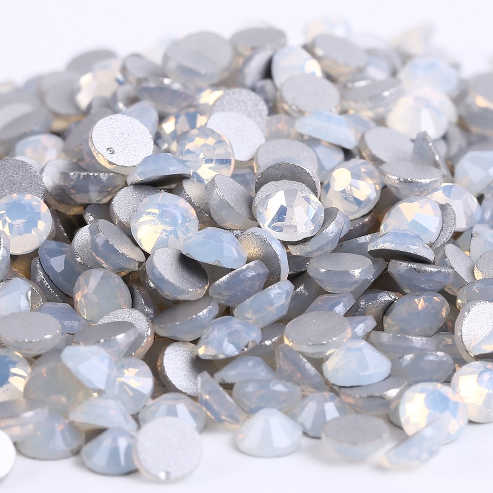 ss16(3.8-4.0mm) White Opal Non-hotfix Rhinestones, 1440pcs/Lot, Flat Back Nail Art Glue On Crystal Stones 1440pcs lot ss16 3 8 4 0mm high quality dmc tanzanite iron on rhinestones hot fix rhinestones