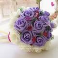2017 dama de Honor Nupcial de La Boda Bouquet Barato New Purple & Ivory Colorido Hecho A Mano Artificial Flores de La Boda Ramos de Novia