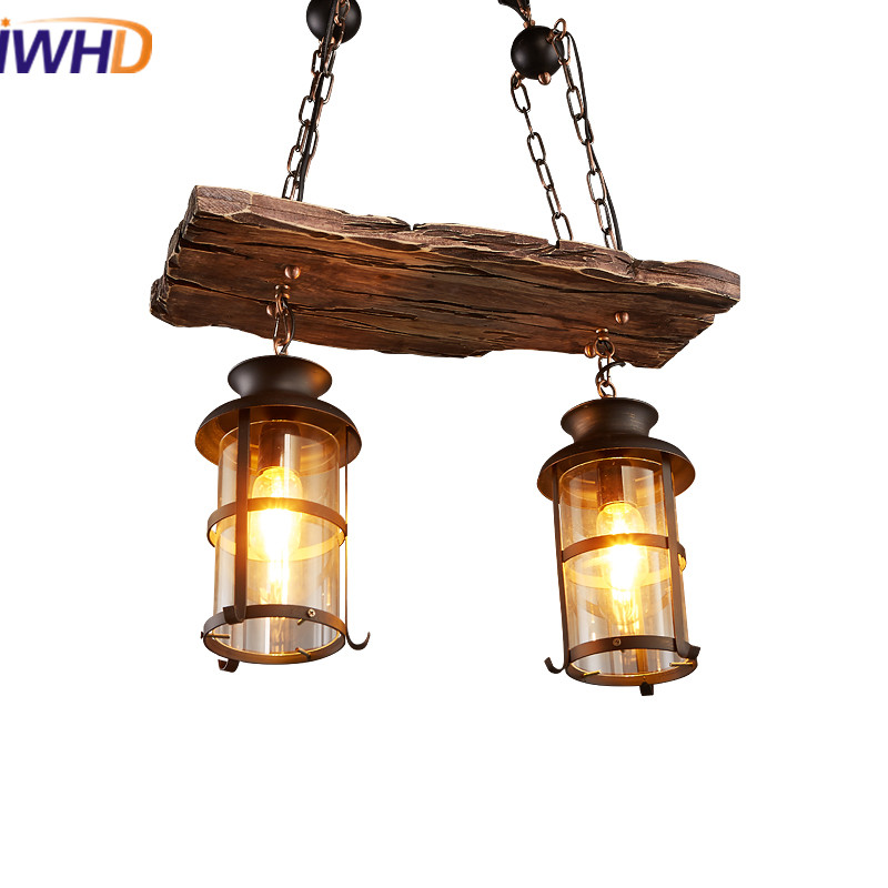 IWHD Loft Vintage Industrial LED Pendant Lights E27*2 American Retro Droplight RH Wooden Pendant Lamp Fixtures For Home Lighting iwhd american retro vintage pendant lights fixtures edison loft industrial pendant lighting hanglamp lampen wrount iron