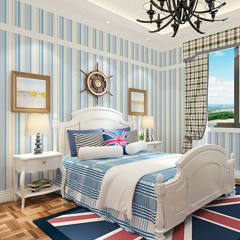 beibehang Mediterranean blue vertical striped wallpaper living room bedroom TV background wall paper contact-paper papel contact beibehang shop for living room bedroom mediterranean wallpaper stripes wallpaper minimalist vertical stripes flocked wallpaper