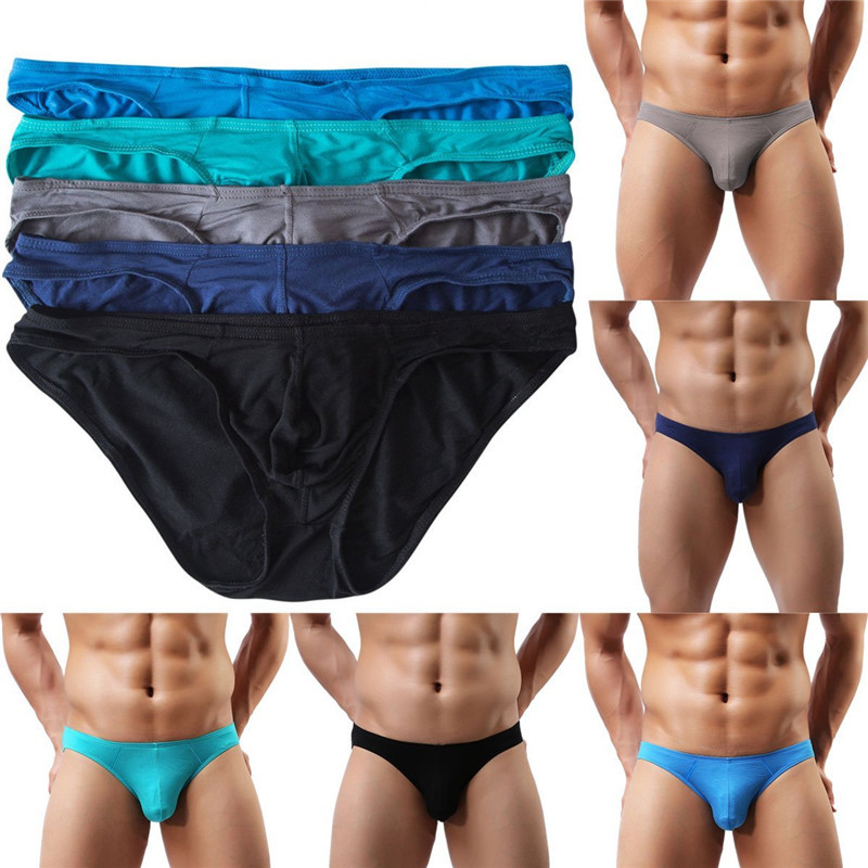 Buy 5PCS/LOT Sexy Underwear Men's Modal Briefs Shorts Bulge Pouch Soft Underpants Slip Homme Sexy Jockstrap Men's Brief Bikini