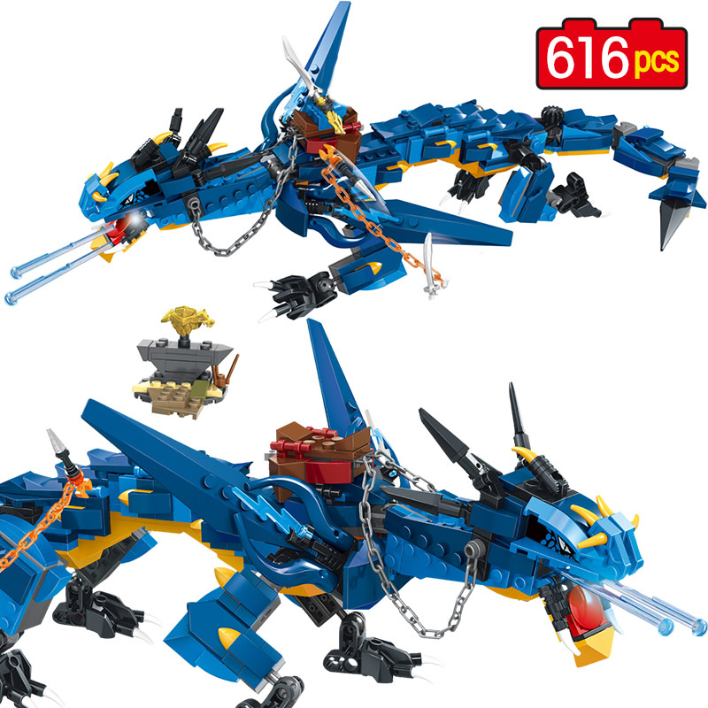Blue Flying Storm Dragon Knight Building Blocks Compatible Legoinglys Creative Bricks Figures Toys For Children Boys Friends