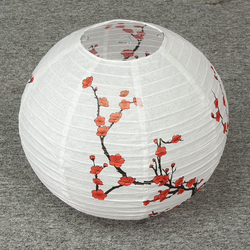 Chinese plum blossom 35cm metal holder paper lantern lamp shade chinese plum blossom 35cm metal holder paper lantern lamp shade oriental home festival party wedding decoration in portable lanterns from lights lighting mozeypictures Image collections