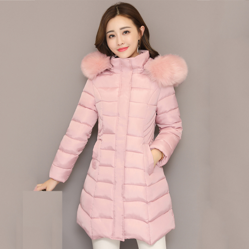 2019 Winter Jacket Women Hooded With Fur Collar Female Long Parka Slim Cotton Padded Coat