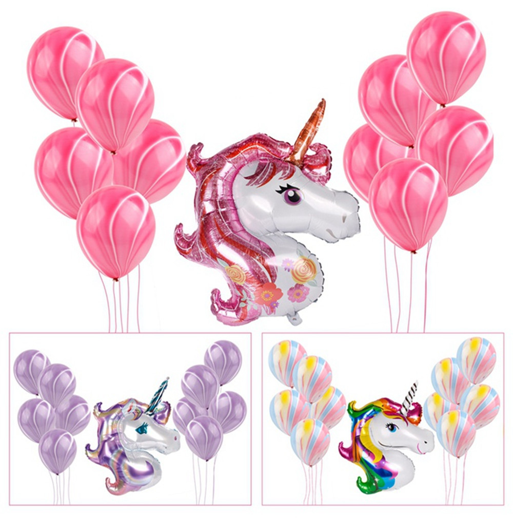 11pcs Unicorn Balloons Birthday Party Pink Rainbow  Agate Balloon Kids Party Favors Gifts Baby Shows Backdrop Decor Cartoon Hat