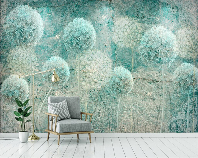 Beibehang Custom wallpaper home decor mural European retro abstract dandelion TV background walls 3d wallpaper papel de parede