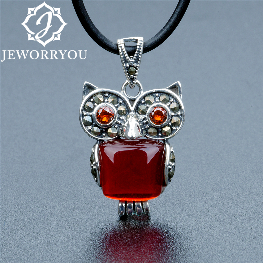 Owl Pendant Natural Stone Necklace Women Silver 925 Jewelry Garnet Stone Square 9x9mm Personalized Necklace Men Chain 16x21mm men choker 925 silver necklace male cross necklace personalized accessories necklace jewelry 2 stone colors gift