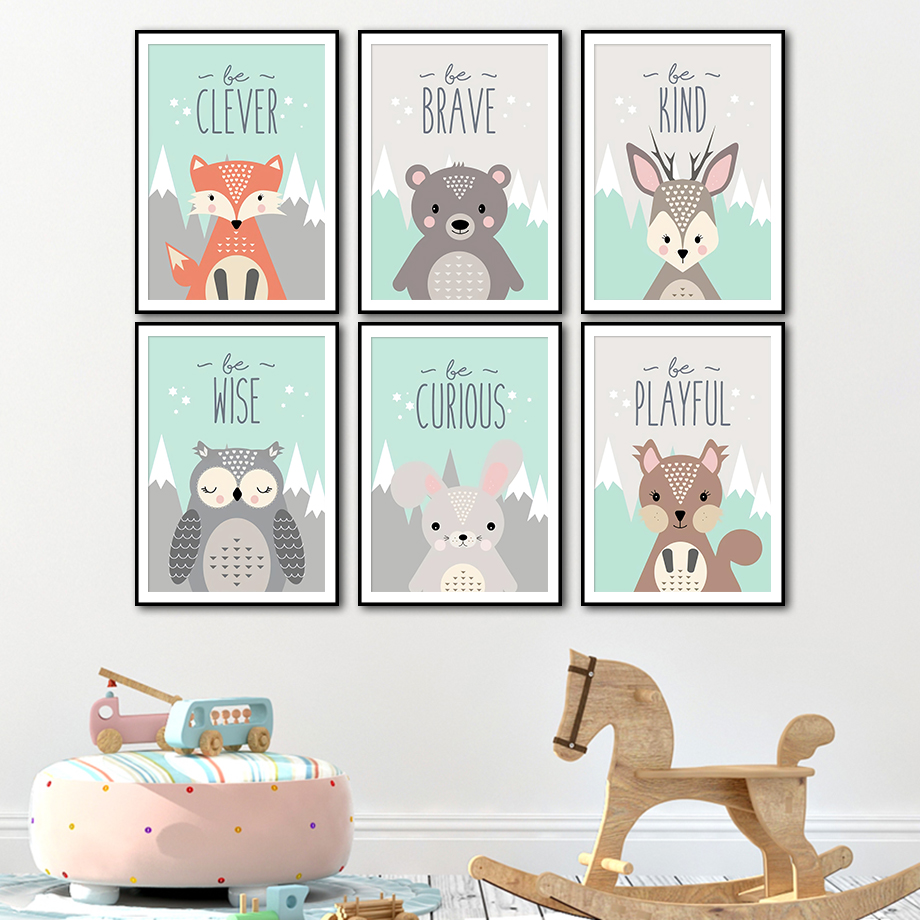 Fox Bear Deer Rabbit Owl Squirrel Nordic Poster And Print Animal Wall Art Canvas Painting Wall Picture Kids Baby Room Home Decor
