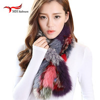 Winter And Autumn Thick Lady Shawls And Scarves Wraps Natural Silver Fox Fur Luxury Women Scarf