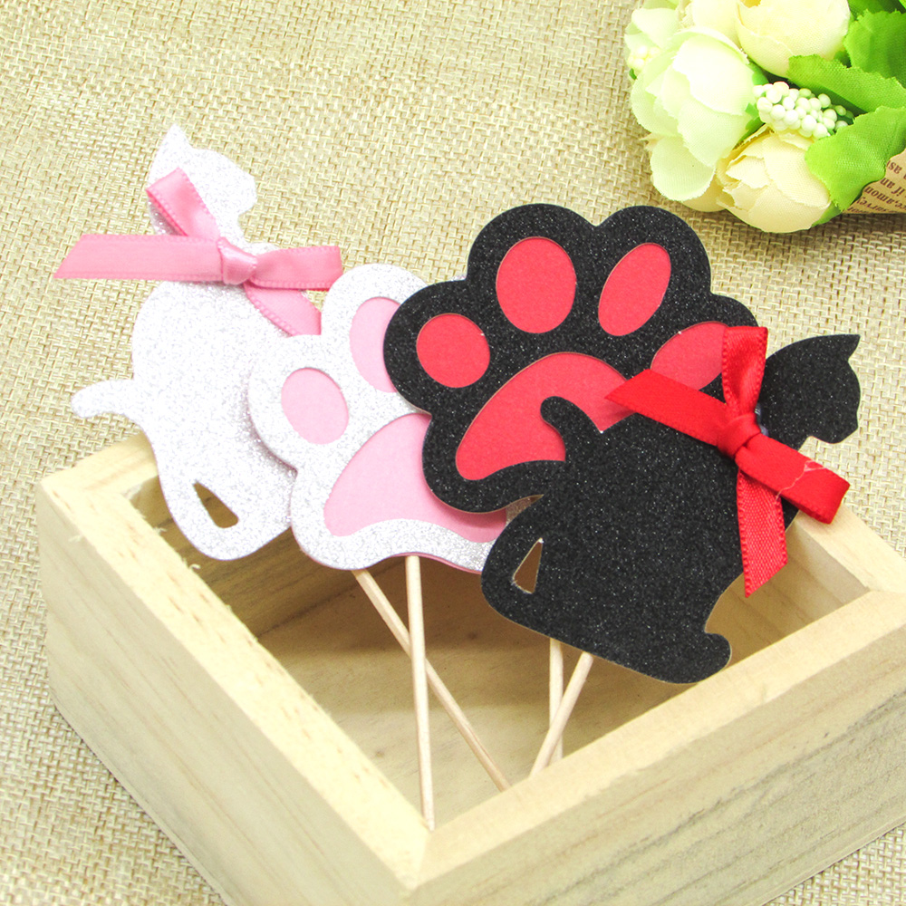 6pcs Graceful Cat Paw Cupcake Topper With Bow Wedding Birthday Hen Party Cake Decorating Supply Princess Girls Party Decor image