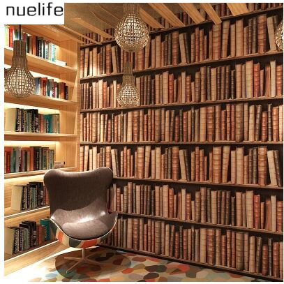 053x10m Bookshelf Patterns Wallpapers 3d Stereo Chinese Wall European Bedroom Books Decorative