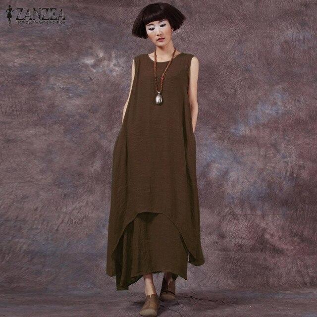 Горячие Продажа ZANZEA Мода Лето Dress 2017 Женщин Случайные Свободные Хлопок Белье Dress Длинные Платья Твердые Vestidos Плюс Размер S-5XL