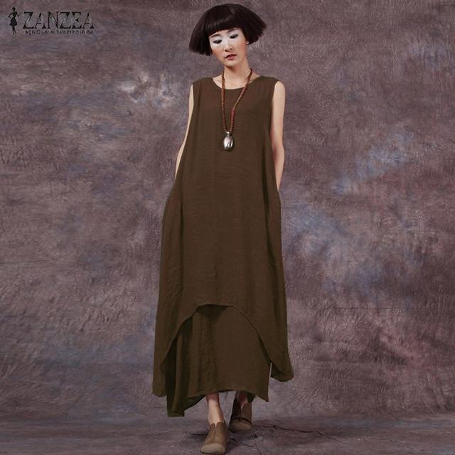 Venta caliente zanzea fashion summer dress 2017 mujeres casual loose cotton linen dress vestidos largos sólidos vestidos más el tamaño s-5xl