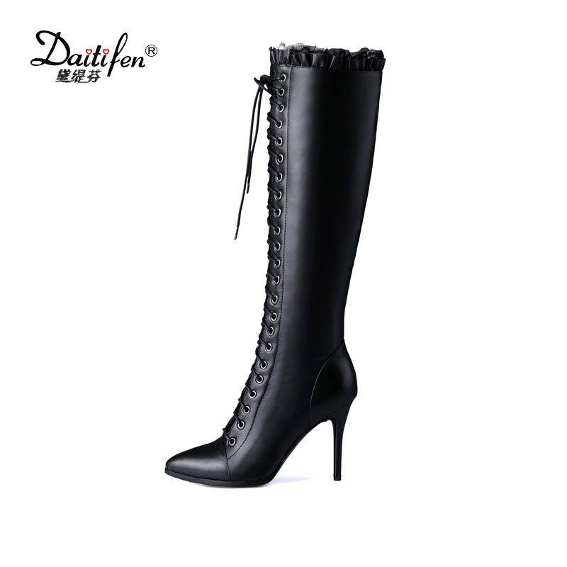 2017 Daitifen new sexy thin high heels pointed toe the knee high boots PU+Genuine leather women boots hot sale lace up Long Boot handmade high quality boots over the knee women 2017 winter new genuine leather pointed toe sexy thin high heels big plus size42