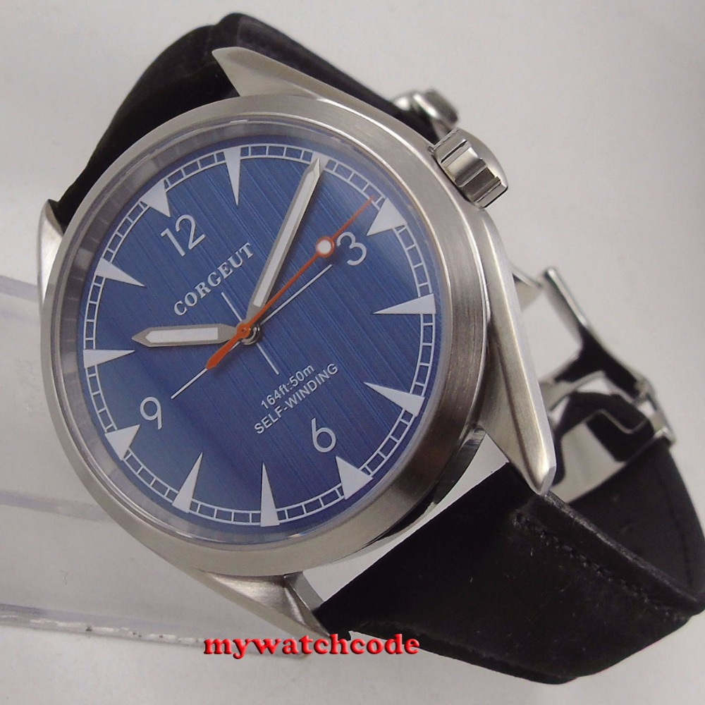 brushed 41mm corgeut blue dial Sapphire Glass miyota 821A automatic mens Watch C128 цена и фото