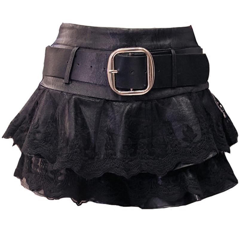 PU Leather Skirt Women Spring Lace Stitching Mini Short Skirt Jupe Ruffles High Waist Sexy Skirt Faldas Mujer Black Skirts C3933