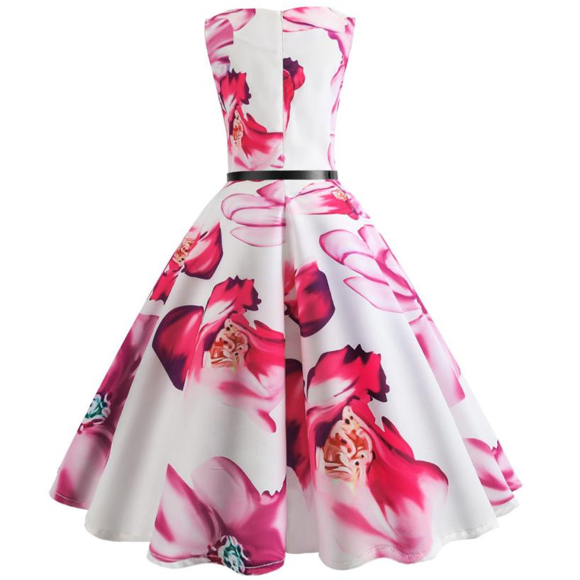 Women Flower Printing Bodycon Sleeveless Pleated dress Casual Elegant Ladies Evening Party Prom Swing Dresses vestiti donna