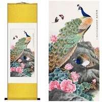 Chinese Silk Ink Watercolor Flower Birds Phoenix Peony Peacock Butterfly Art Canvas Wall Picture Damask Framed