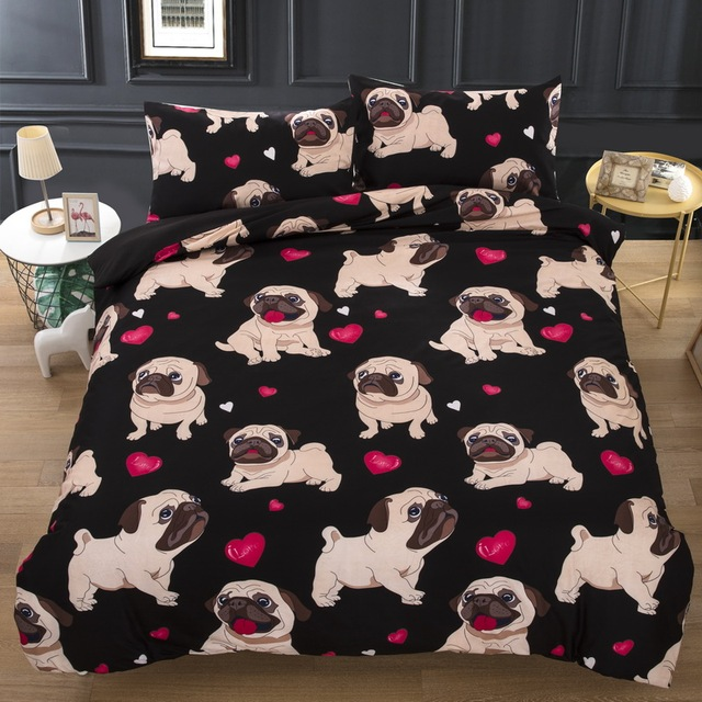 Dog Bedding Set Single Double Queen King Twin UK Double Single Size Animal Duvet Cover Quilt Cover Pillow Cases Bed Lines 3pcs