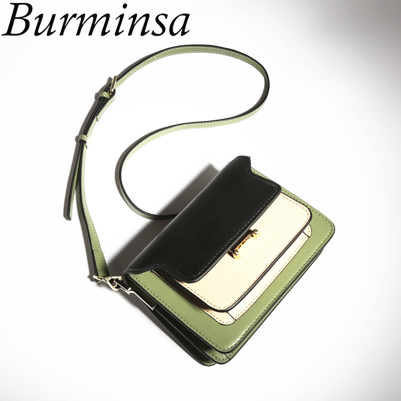 Burminsa Summer Small Flap Genuine Leather Crossbody Bags Famous Brand Designer Women Messenger Bags Female Shoulder Bags 2017 genuine leather women messenger bags rivet small flap shoulder bag crossbody bags designer brand ladies female clutch hand bags