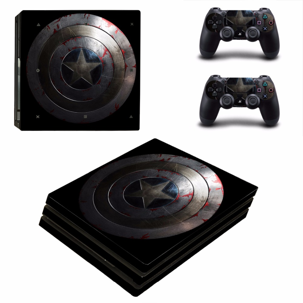 Captain American PS4 Pro Skin Sticker For Sony PlayStation 4 Console and Controllers PS4 Pro Stickers Decal Vinyl
