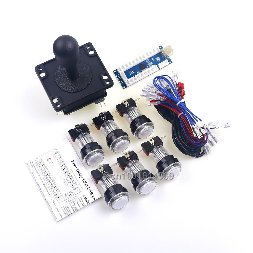 Arcade Joystick DIY Kit Zero Delay Arcade USB PC Encoder To 2Pin PC Arcade HAPP Joystick + 6 x LED Push Buttons For Arcade Mame