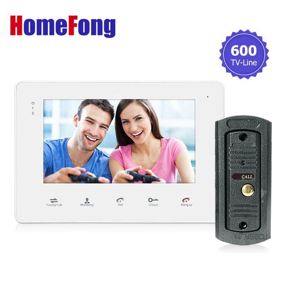 Homefong 7 pollice Touch Wired Video Telefono Del Portello Citofono Campanello di Trasporto 600TVL Monitoraggio Sblocco di Registrazione della Carta di DEVIAZIONE STANDARD di Sostegno
