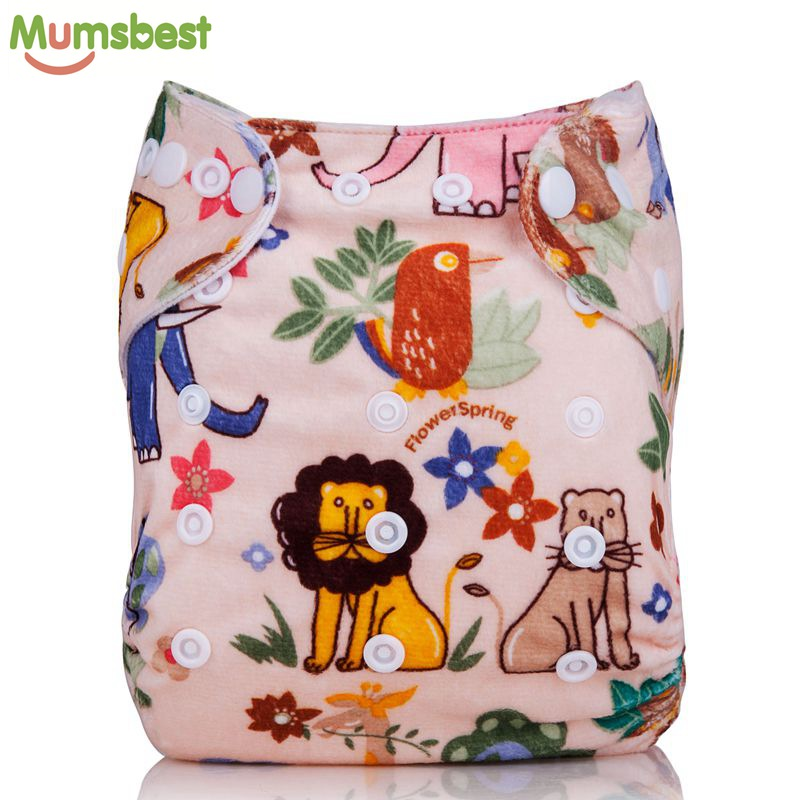 [Mumsbest] Baby Autumn & Winter Cloth Diapers Pocket Character Bamboo Velour Fitted Cloth Nappies Washable Reusable Diaper Cover