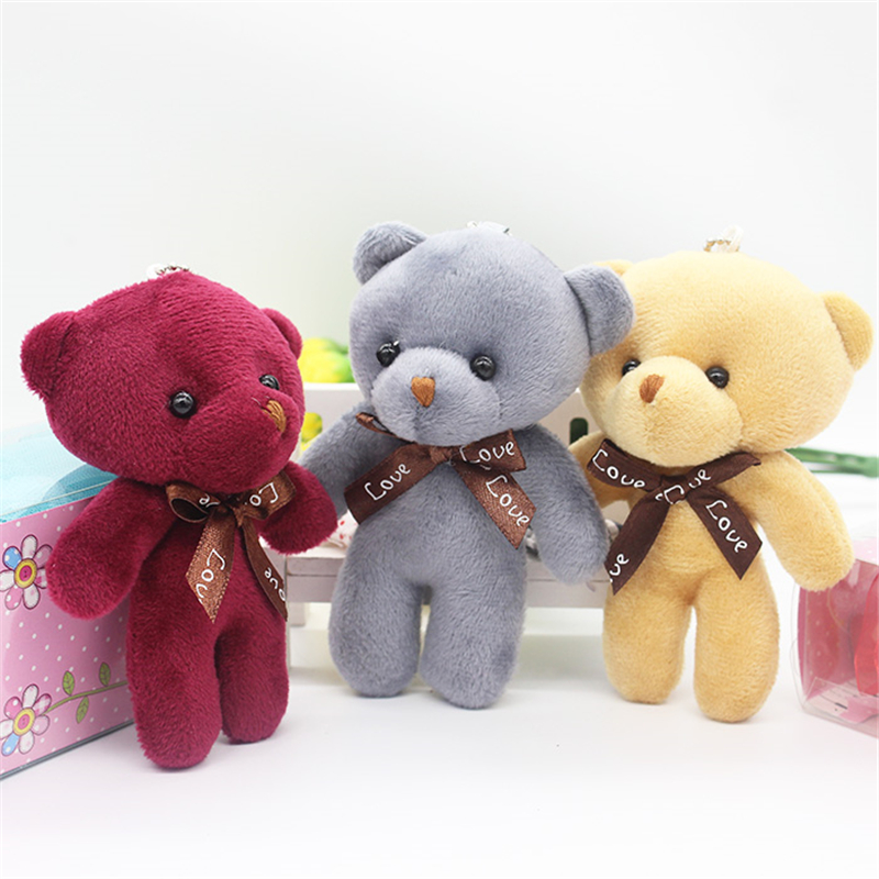 30pcs 12cm Small Stuffed Mini Teddy Bears Decoration Key Chain Anime Pendant Toys Plush Pink Gray Brown Colorful Teddies Bear