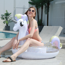 200cm Sparkly Pegasus Pool Float INS Hot Glitter Unicorn Ride-On Swimming Ring Adult Children Party Inflatable Toys boia