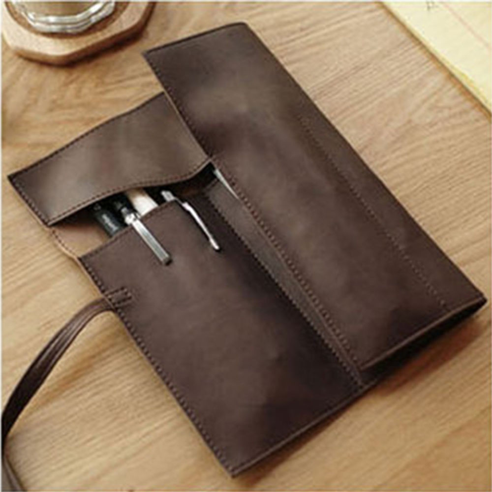 Fashion PU Leather Pencil Bag Large Capacity Roll Pencil Case Creative Waterproof Multifunctional Office School Supplies