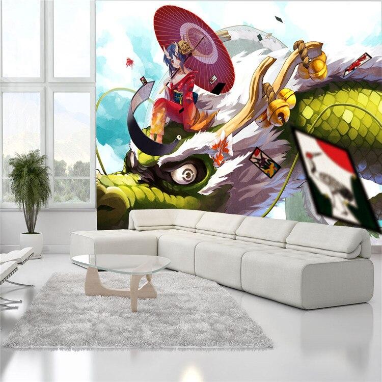 ... Fantasy Girl And Dragon Photo Wallpaper Japanese Anime Wall Mural  Custom Cartoon Wallpaper Room Decor Wall ...