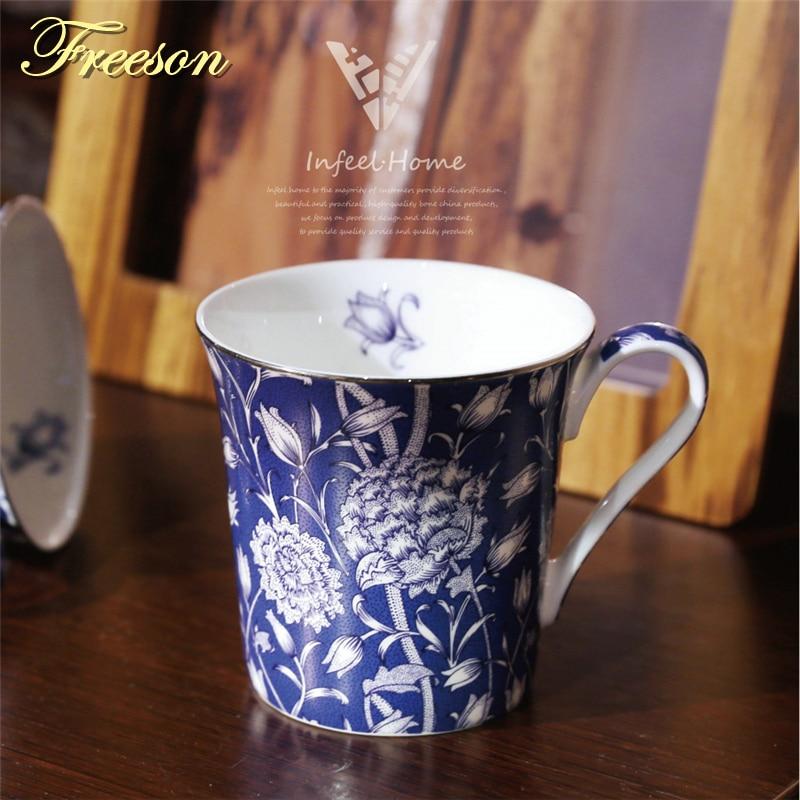 Taza de café de porcelana retra con cuchara Cuchara de té de pintura nórdica Taza de café de porcelana británica Taza de té de cerámica Cafe Drinkware
