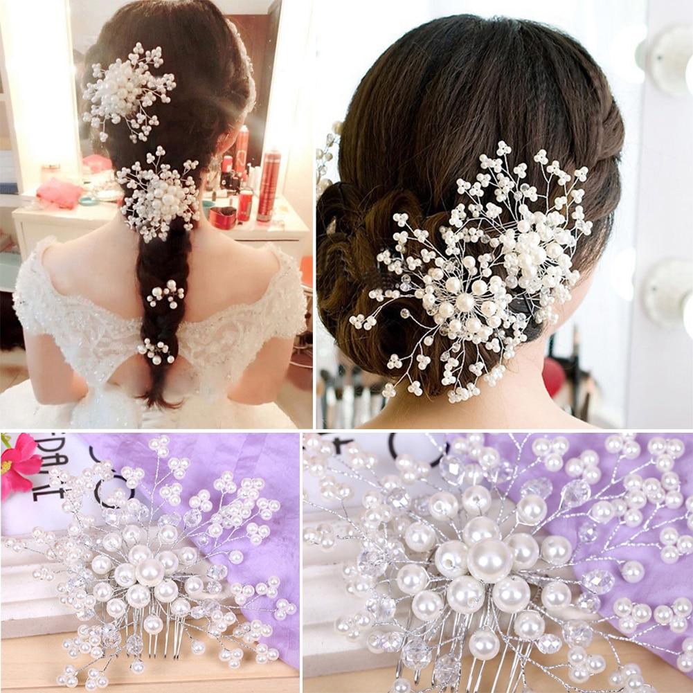 Wedding Hair Accessories Elegant Crystal Pearl Hair Clips