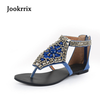 Jookrrix 2018 New Fashion Brand Bohemian Style Girl Summer White Shoes Woman String Bead Rhinestone Sandals