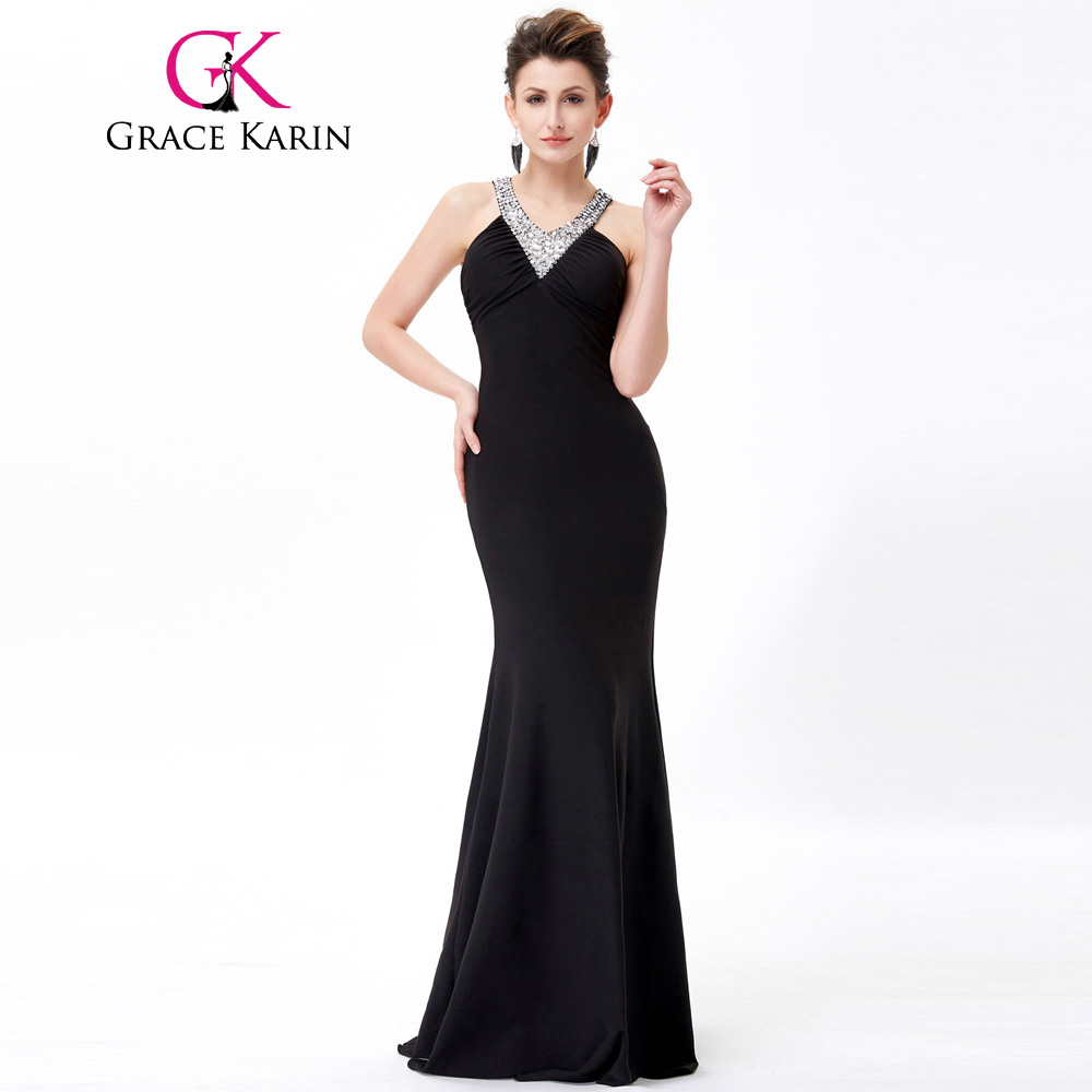 Grace karin long black evening dress v neck sequin open for Sexy wedding reception dresses