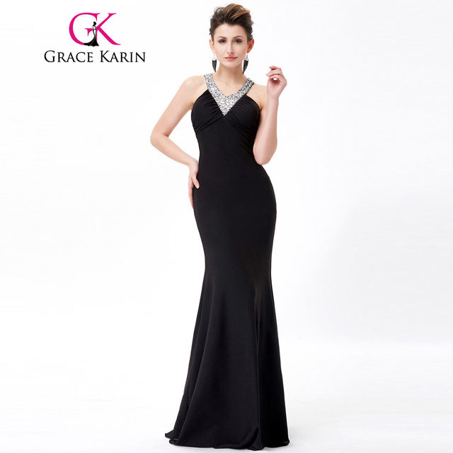 Grace Karin Long Black Evening Dress V Neck Sequin Open Back Modest ...