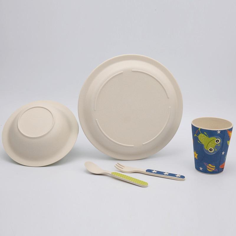 5 st / set babymatningssats med skål tallrikgaffel sked kopp servis - Äta och dricka - Foto 4