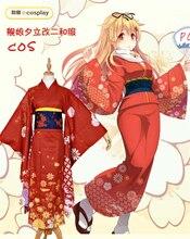 collection Yudachi cosplay costume Halloween anime flame Kimono dress cloth  free shipping red(China) ea2cf79aa