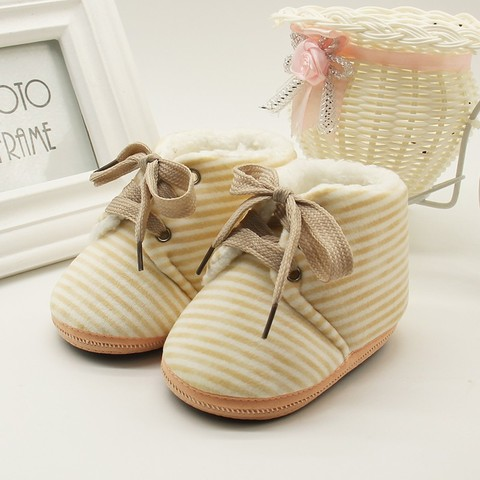 Autumn Winter Baby Non-slip Striped Shoes Winter Warm Boys Girls Lovely First Walkers Unisex Fashion Kids Shoes Lahore