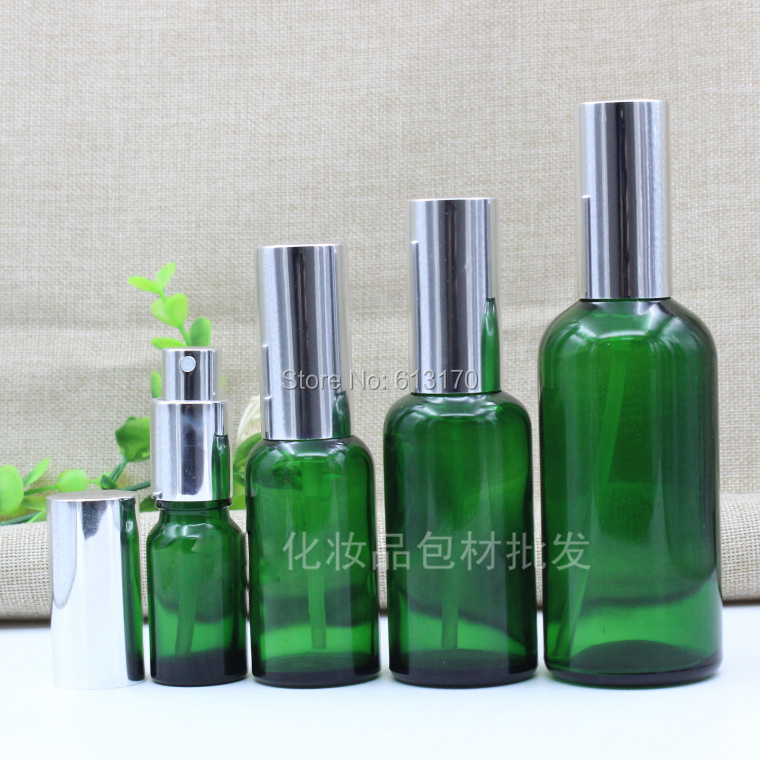 5ml,10ml,15ml,20ml,30ml,50ml,100ml Empty Glass Spray Bottle with Silver cap Green Sprayer Atomizer bottle for essential oils цена 2017