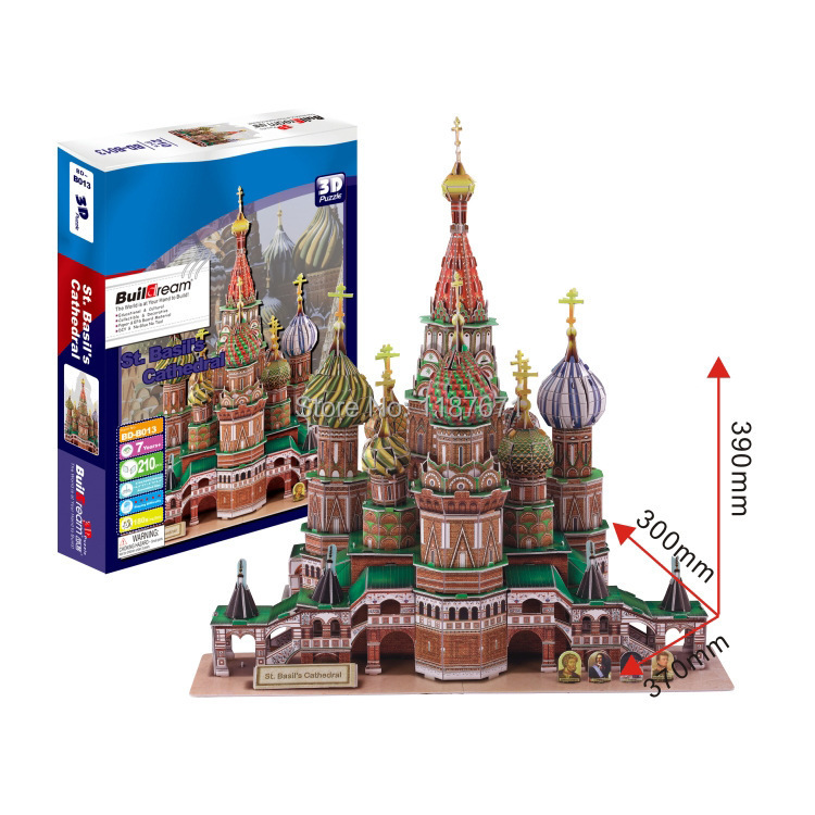 Paper Model Diy Vasilli cathedral Enlighten Blocks Construction Educational playmobil Toys scale models Sets brinquedos