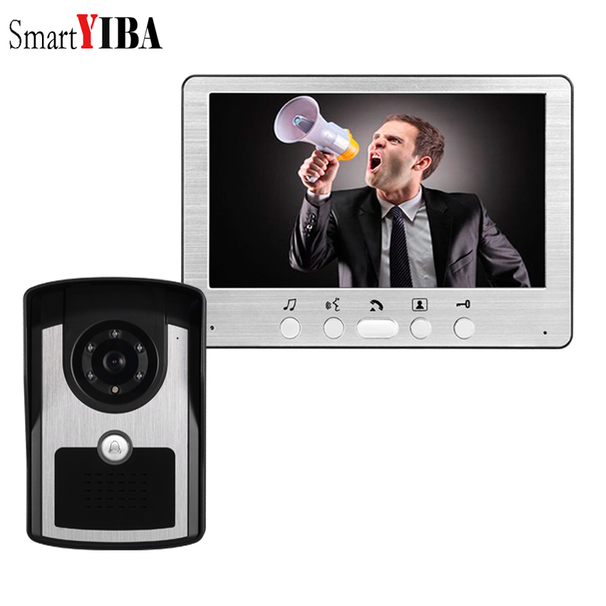 SmartYIBA 7 Inch Wired House Doorphone Video Intercom 1000TVL Rainproof Cover Doorbell Ring Camera IR-Cut Video Call Audio Chat SmartYIBA 7 Inch Wired House Doorphone Video Intercom 1000TVL Rainproof Cover Doorbell Ring Camera IR-Cut Video Call Audio Chat