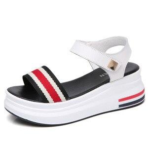 Image 3 - JZZDDOWN frauen Sommer Plattform Sandalen Schuhe Frau Concise Gingham Gemischt Farbe Alias Mujer Ferse Hohe 6 cm Casual Sandalen