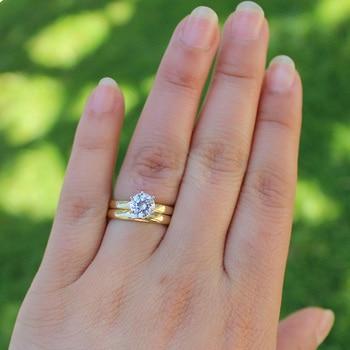14 كيلو الذهب الأصفر 0.5ct 5 ملليمتر المويسانتي الاشتباك خاتم سوليتير مجموعة مختبر نمت خاتم الزواج مجموعة للنساء