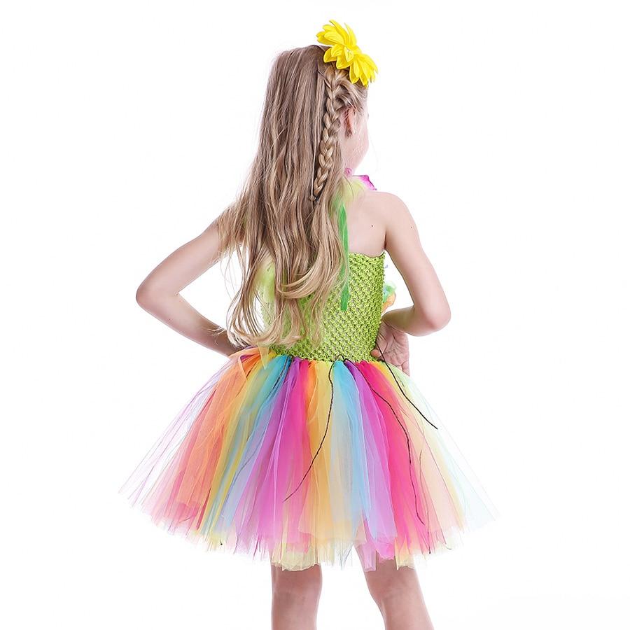Girls Hawaiian Grass Hula Tutu Dress with Flower Garland Necklace Kids (9)