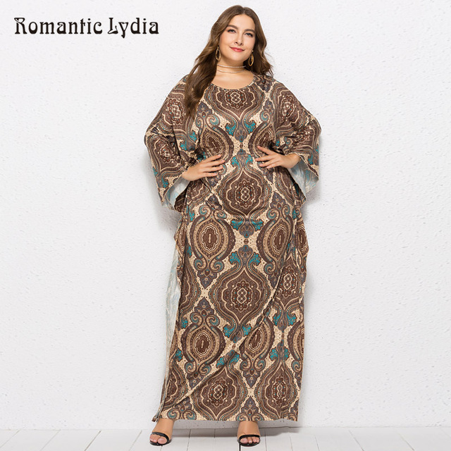 US $29.44 41% OFF|Plus Size Floral Dress Women Maxi Long Dresses Large  Sizes 2018 Autumn Print Batwing Sleeve Floor Length Tropical Dress -in  Dresses ...